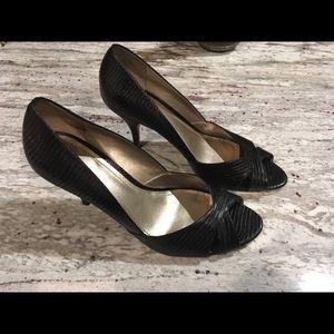 Black Anne Klein peep toe heels